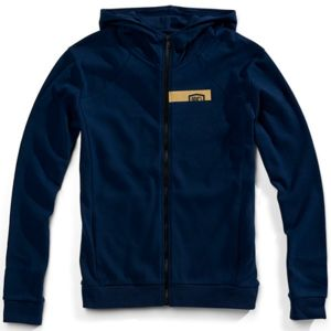 100% Chamber Hooded Sweatshirt: Navy/Gold LG