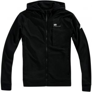 100% Regent Zip Hooded Tech Fleece: Black LG