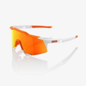 100% Speedcraft Sunglasses: Soft Tact Day Glo Orange/White with HiPER Red Multilayer Mirror Lens