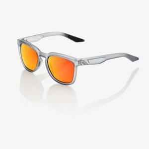 100% Hudson Sunglasses: Soft Tact Translucent Crystal Grey with HiPER Red Multilayer Mirror Lens