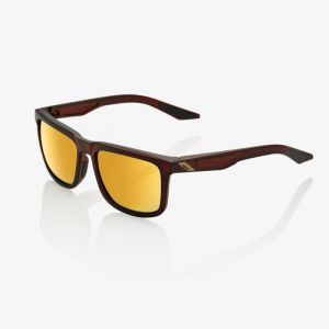 100% Blake Sunglasses: Soft Tact Rootbeer with Flash Gold Lens