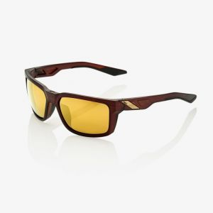 100% Daze Sunglasses: Soft Tact Rootbeer with Flash Gold Lens