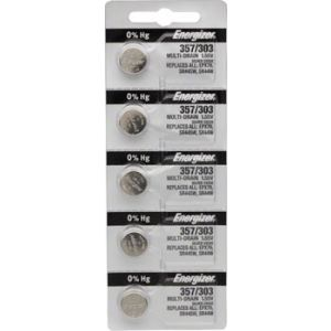 Energizer 357 / 303 Silver Oxide Multi-Drain Battery 1.55v: Card of 5