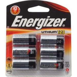 Energizer CR123 Lithium Cell Blister pack of 6