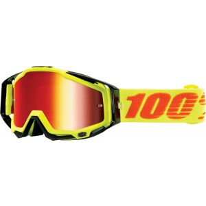 100% Racecraft Goggle: Neon Attack with Mirror Red Lens Spare Clear Lens