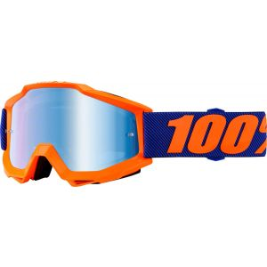100% Accuri Goggle: Origami with Mirror Blue Lens Spare Clear Lens Included