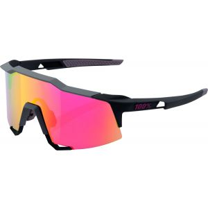 100% Speedcraft Sunglasses: Soft Tact Graphite Frame with Purple Multilayer