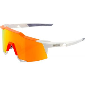 100% SpeedCraft Sunglasses: White/Neon Orange Frame with HiPER Red Multilayer Mirror Lens, Spare Clear Lens Included