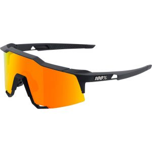100% Speedcraft Sunglasses: Soft Tact Black Frame with HiPER Red Multilayer