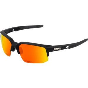 100% Speedcoupe Sunglasses: Soft Tact Black Frame with HiPER Red Multilayer