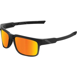 100% Type-S Sunglasses: Soft Tact Black Frame with HD Red Mutlilayer Mirror