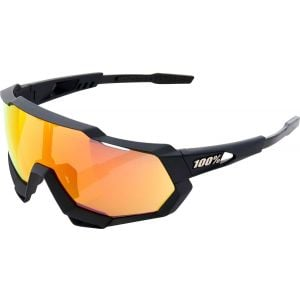 100% Speedtrap Sunglasses: Soft Tact Black Frame with HiPER Red Multilayer