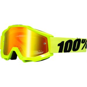 100% Accuri Goggle Fluo Yellow with Mirror Red Lens Spare Clear Lens Included