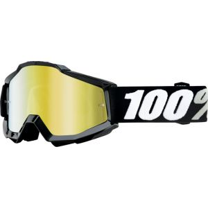 100% Accuri Goggle Black Tornado with Mirror Gold Lens Spare Clear Lens