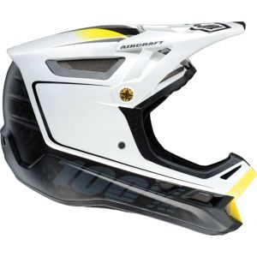 100% Aircraft MIPS Carbon Full-Face Helmet: Bi-Turbo White XL