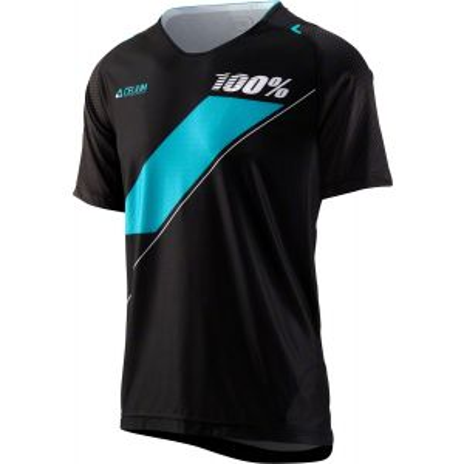 100% Celium Men's MTB Jersey: Black/Cyan XL