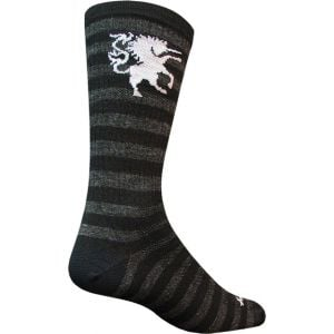 SockGuy Wool Medieval Unicorn 8 Crew Sock: Black/Gray LG/XL
