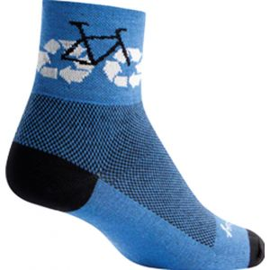SockGuy Recycle Bike Sock: Blue LG/XL