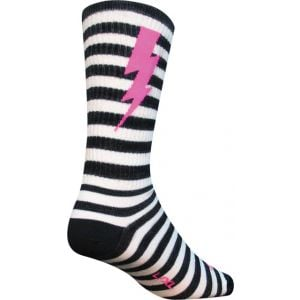 SockGuy Lightning Wool Sock: Black/White LG/XL