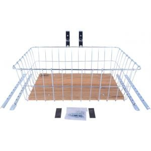 Wald 1392 Front Basket with Adjustable Legs Wood Slats Silver