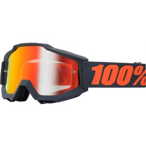 100% Accuri Goggle Gunmetal with Mirror Red Lens Spare Clear Lens Included